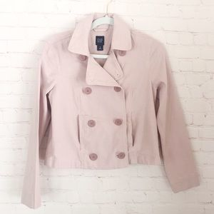 [GAP] blush pink stretch crop button up jacket M